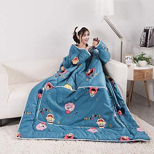 Q&N Tragbare Bettdecke, 5 Pfund Warmer Pyjama Mit Ärmeln, 60 X 80 Zoll Faltbare Kissen, Decken Für Kinder Und Erwachsene, Reißverschluss Auf Der Rückseite
