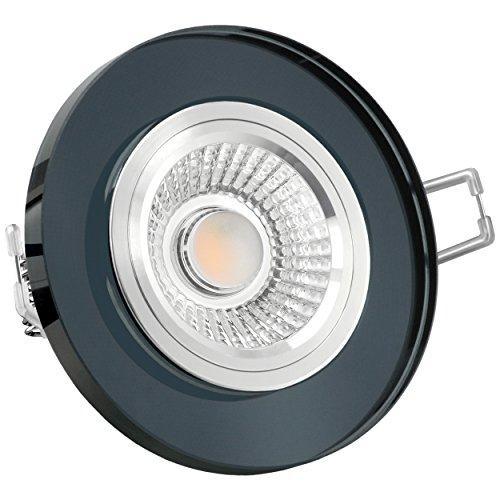 Glas LED Decken Einbauleuchte Einbaustrahler 230V dimmbar & super flach (30mm) in schwarzem runde Form mit 6W LED Modul warmweiß 2700K
