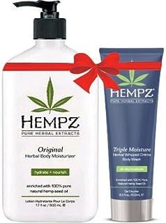 Hempz Original Herbal Body Moisturizer (17 Oz) and Triple Moisture Herbal Whipped Creme Body Wash (8.5 Oz) Bundle
