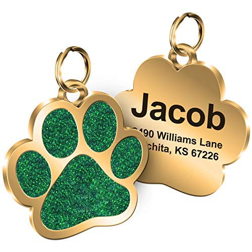 Personalized Engrave Pet ID Tags Paw Shape Custom Glitter Pet Supplies Engrave Name Number Elegant Plated Unique Gift for Cats Little Dogs (Green)