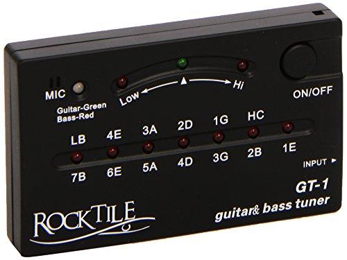 Rocktile GT-1 Stimmgerät für bis zu 7-saitige Gitarren und 6-saitigen Bässe (automatisch, 6,3 mm Klinkeneingang, eingebautes Mikrofon, 3 Tuning LEDs, schwarz)