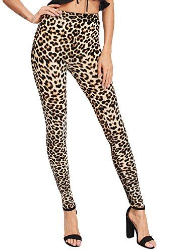 SweatyRocks Women's Stretchy Print Workout Leggings High Waist Yoga Pants Leopard #5 L