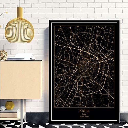 SERTHNY afdrukken schilderijafbeeldingen, Padua Italië zwart & Amp; Gold City Light Maps Custom Ledstad Posters kunstdrukken op canvas in Scandinavische stijl Wall Art Home Decor 40×50cm (15.74×19.68inch)no frame
