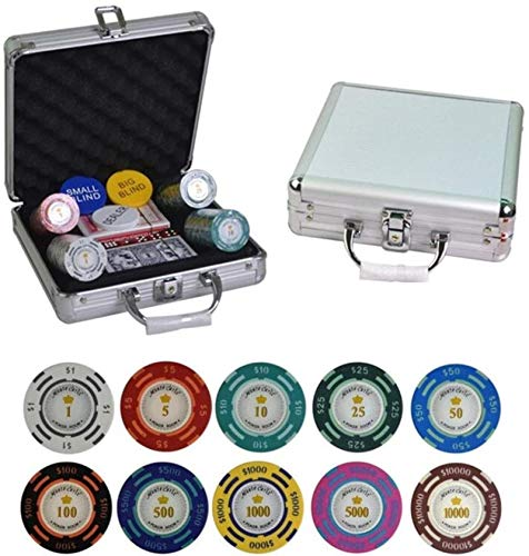 Conjunto de Chips de póquer con Caja de Aluminio Casino Texas Hold'em Clay Dollar Poker Fichas de póquer con Etiqueta de Ajuste 100,200,300,400,500pcs / Set