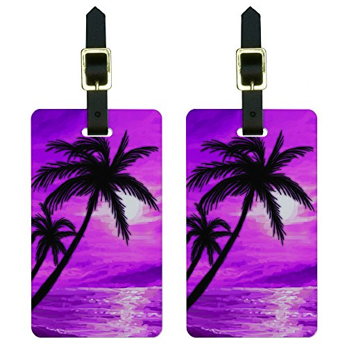 Graphics & More Palm Trees and Sunset Pink-Beach Tropical Ocean Luggage Tags Id, White