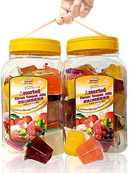 Jin Jin Assorted Fruit Lychee Mango Peach Grape Jelly Cups 52.9 oz  Pack of 2