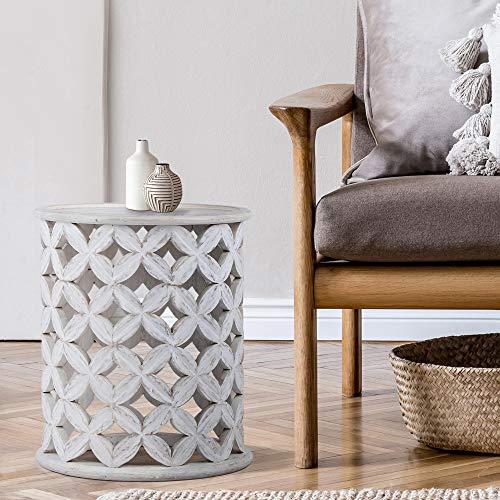 WOMO-DESIGN Orientalischer Beistelltisch Bergamo Ø45x55 cm rund weiß aus Massivholz Mangoholz handgeschnitzt Indische Design Vintage Wohnzimmer Couchtisch Wohnzimmertisch Sofatisch Loungetisch Tisch