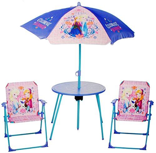 alles-meine.de GmbH 4 TLG. Set: Sitzgruppe - Tisch + 2 Kinderstühle + Sonnenschirm -  Disney die Eiskönigin - Frozen  - für Kinder - Campingstuhl - Klappstühle / kippsicher - f..