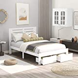 SOFTSEA Wood Platform Bed Frame with Drawers, Full Size Bed Frame with Headboard/Wood Slat for Kids Teens, No Box Spring Needed (Full, White)