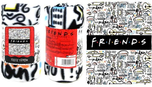 """The Northwest Company Friends Fleece Throw Blanket - Friends TV Show How You Doin' & Pivot NYC Fleece Throw Blanket, Soft and Cozy Lightweight Plush Fabric Bed Cover and Room Décor - Size 45""""x 60"""""""