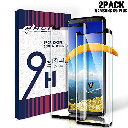 Youer Galaxy S9 Plus Vetro Temperato, [2 Pezzi] S9 Plus Pellicola Protettiva, 9H Durezza, Ai Graffi, Nessuna Bolla, Alta Definizione Screen Protector, per Samsung Galaxy S9 Plus (Nero)