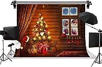 新しい9X6FTクリスマスイブの背景サンタクロースはプレゼントウィンドウクリスマスツリー写真の背景の写真の小道具MFST006を提供します