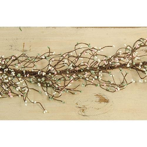 TAKAZOON Floral Décor Supplies for PIP Berry Garland Pink Green Cream 48' Primitive Cottage Country Spring for Primitive Fall Decor, Christmas Decorations.