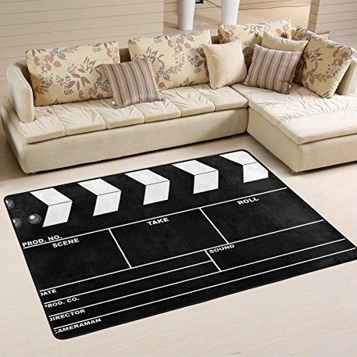 ALAZA Black Movie Clapboard Area Rug Rugs Mat for Living Room Bedroom 6'x4'