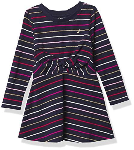 Nautica Tall Size Girls' Long Sleeve Dress, F20 Stripe Tie Navy, 4T