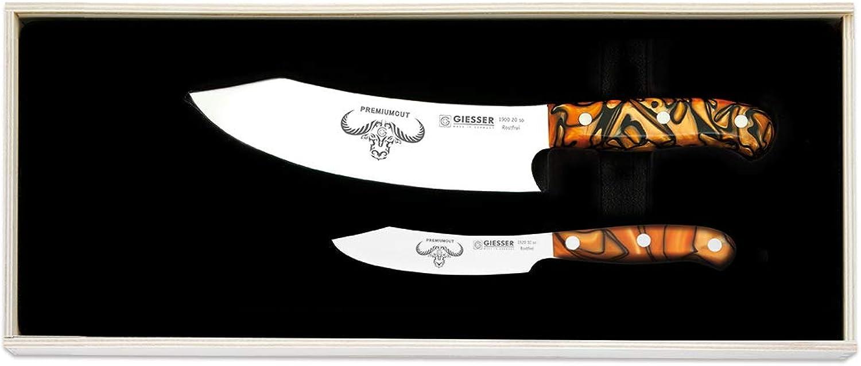 Giesser Messer PremiumCut 2er Set No.II Spicy Orange Messerset extra extra extra scharf, Kochmesser Chefs No. 1 mit 20 cm Klinge und Gemüsemesser Office No. 1 mit 10 cm Klinge, Profi Küchenmesser edel groß B07JBK6LBP 5f0127