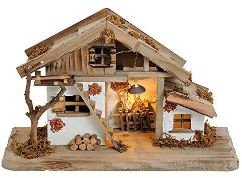 matches21 Krippe Weihnachtskrippe Stall Holz/Echtholz alpenländisch traditionell braun/weiß liebevolle Details 39x23x19 cm