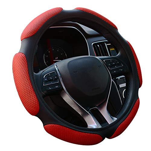 FHQSX Auto Steering Wheel Cover Hand Pad Cushion Slip-on Universal Fit 15'' / 38 cm (red)