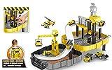 Brigamo 🚧 Baumeister Spielset aufklappbare Baustelle mit Kran und Zwei Baustellen Fahrzeuge im praktischen Werkzeugkoffer Rucksack zum umschnallen und zur Spielzeug Aufbewahrung 🚧
