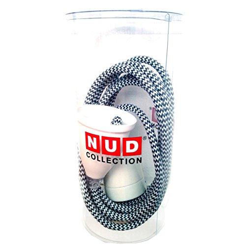 NUD Collection Hängelampe mit dunkelgrau-weiss gezacktem Textilkabel, classic white crosswalk TT92