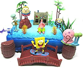 Spongebob Squarepants and Friends Birthday Cake Topper Set Featuring Spongebob and Other Characters with Decorative Themed Accessories