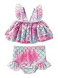 Oyolan Baby Mädchen Bikini Badeanzug Rüschen Hawaiian Badeanzüge Strandkelidung Meerjungfrau 1-5 Jahre Alt Rosa 86-92