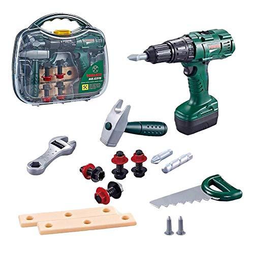 Jinclonder Kids reparatiegereedschapsset met draagtas, speelgoedgereedschapsset bevat speelgoedhamer, zaag, kunststof plaat, schroefsleutel voor jongens en meisjes