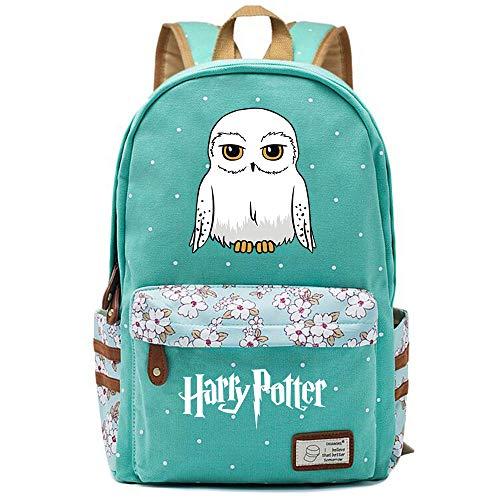 NYLY Stilvolle Harry Potter Schule Rucksack Wasser abstoßende Floral Casual Daypack Computer Tasche Dobby/Eule Große S-7
