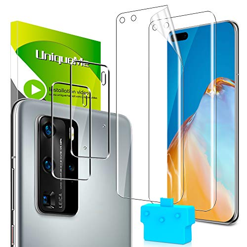 [2+2 Pack] UniqueMe Screen Protector for Huawei P40 Pro [TPU Soft Film] Tempered Glass for Camera Lens Protector HD Clear [Anti-Scratch] [Bubble Free]【 Easy Installation Tools】