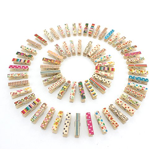 Z ZICOME 100pcs Mini Colorful Natural Wooden Photo Paper Peg Pin Clothespin Craft Clips