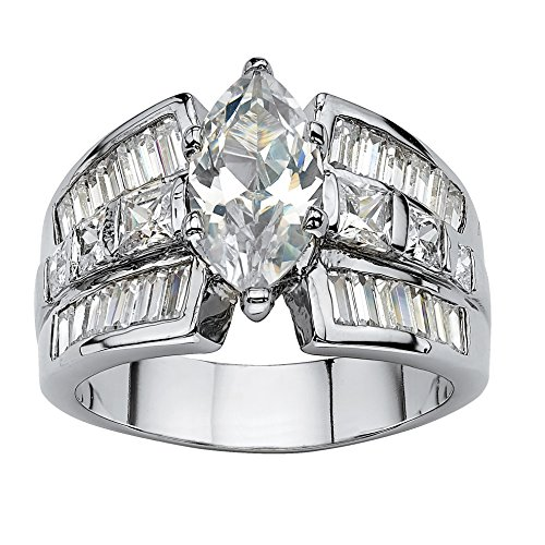 Palm Beach Jewelry Marquise-Cut White Cubic Zirconia Platinum-Plated...