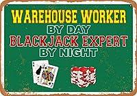 8 x 12 CM メタル サイン - 昼間は倉庫作業員、夜はブラックジャック エキスパート メタルプレートブリキ 看板 2枚セットアンティークレトロ