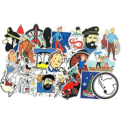 YACHAO Le Avventure di Tintin Cool Bagaglio Trolley Valigia Doodle Sticker Notebook Sticker Impermeabile 25 Pz