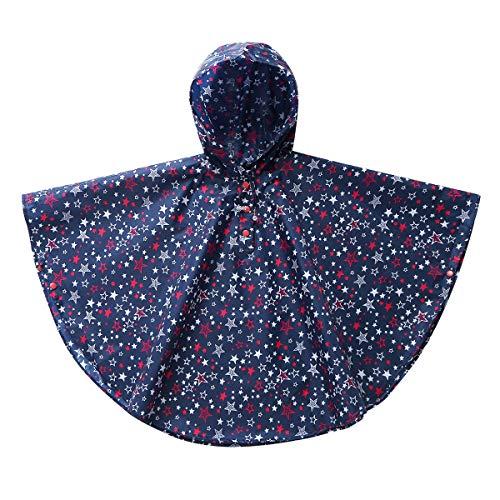Alvivi Regenmantel Mädchen Regenponcho mit Kapuze Wasserdicht Regenjacke Regencape für Outdoor Camping Radfahren Wandern Marine Blau 116-128/6-8 Jahre