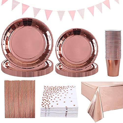 Amycute Oro Rosa Piatti di Carta Bicchieri Tovaglioli Cannucce, Oro Rosa Forniture per Feste di Compleanno Matrimonio