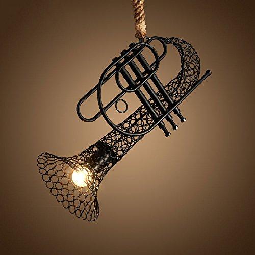 Crayom Sola Cabeza Retro Creativo Hierro Encaje Hemp Cuerda araña Saxofón Cuerno modelando Luces Colgantes Western Restaurant Tienda de Ropa Café Colgante Loft candelabros Decorativos