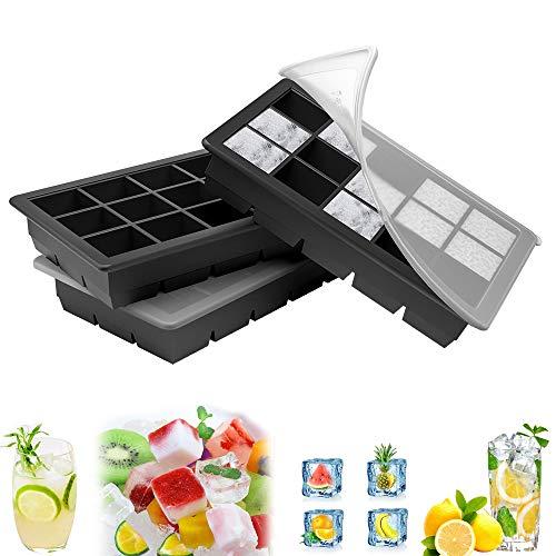 Eiswürfelform, große Silikon Eiswürfelbehälter mit Deckel, BPA-Frei Für Große Eiswürfel (3 .5 * 3 .5 * 3cm)(Schwarz-3) (3pack)