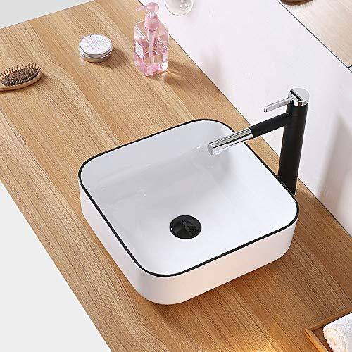 HomeLava Modernes Rechteck Keramik Aufsatzwaschbecken Becken Einfache Weiß Badezimmer Waschbecken (ohne Wasserhahn)