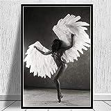 PLWCVERS Victoria Secret Dancing Girl Ángeles con alas Póster Moderno e Impresiones Pintura en Lienzo en la Pared Arte Decoración de Imagen de Moda   60x90cm (Sin Marco)