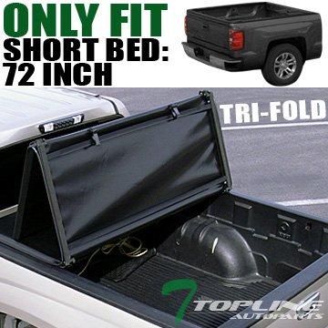 Topline Autopart Tri Fold Soft Vinyl Truck Bed Tonneau Cover For 94-03 Chevy S10 / GMC S15 / Sonoma / 96-00 Isuzu Hombre 6 Feet (72