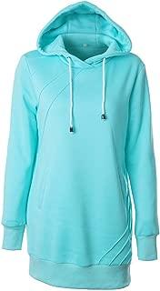 Shusuen Solid Color Casual Loose Fit Pocket Pullover Hoodie Long Tunics Sweatshirts