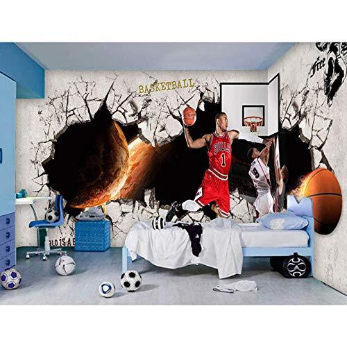 Decoración para el hogar Papeles de pared Habitación para niños Papel De Parede 3D Personalizado Baloncesto Deporte Foto Mural Autoadhesivo Vinilo/Papel tapiz de seda, 200 * 140