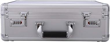 HUIYA Portable Password Box File Safe Portable Briefcase Light Storage Box Small Trumpet Household Password Box Double Password Lock Box Security (Sliver)