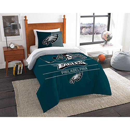 3pc NFL Philadelphia Eagles Comforter Full Queen Set, Grey, Team Logo, Green, Team Spirit, Unisex, Football Themed, National Football League, Sports Patterned Bedding, Fan Merchandise