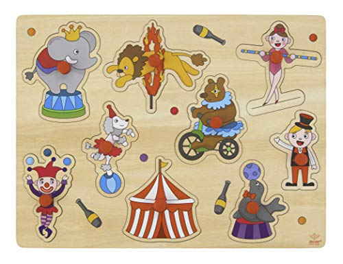 Engelhart- Puzzle Rompecabezas de Madera Botones , Juguetes didacticos, Juegos y Juguetes para pequegno ninos Edad: 2+. (El Circo)