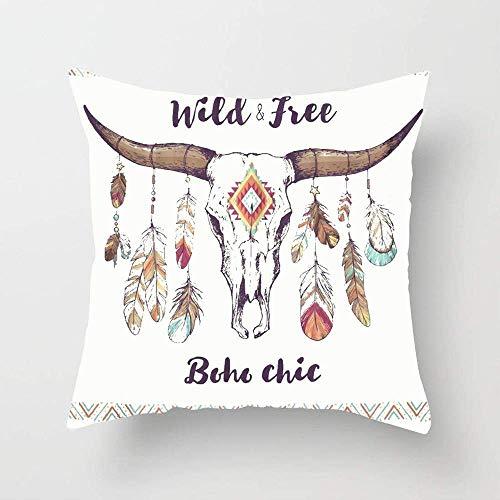 N\A Cráneo de Toro Mexicano étnico Nativo Americano Boho Chic con Plumas en los Cuernos y Funda de cojín Tradicional Tribal Tribal Square Throw Pillow para sofá Dormitorio Coche