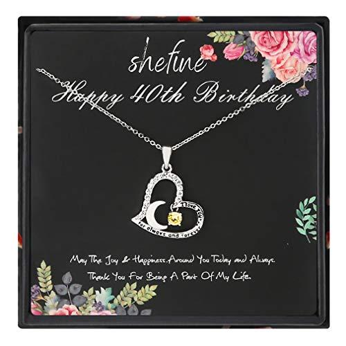 shefine 40th Birthday Gifts for Women - Collar de acero inoxidable con circonitas amarillas en forma de corazón, regalo de 40 años para mujeres, regalo de 40 cumpleaños divertido para mujer