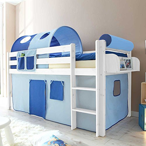 Pharao24 Kinderhochbett mit Tunnel in Blau halbhoch Hängeregal Nein