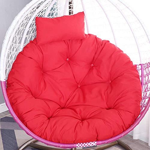 Aocean Cojín colgante de la silla de la cesta, suave respaldo de la silla sin silla, cojín grueso del asiento, impermeable colgante de la hamaca del huevo cojín de la silla del oscilación rojo D105cm