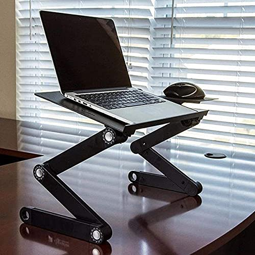 Madhav Laptop Stand,T8 Adjustable Laptop Table for Bed Portable Lap Desk Foldable Laptop Workstation Notebook Riser with Mouse Pad Side Ergonomic Computer Tray Reading Holder TV Bed Sofa Desk